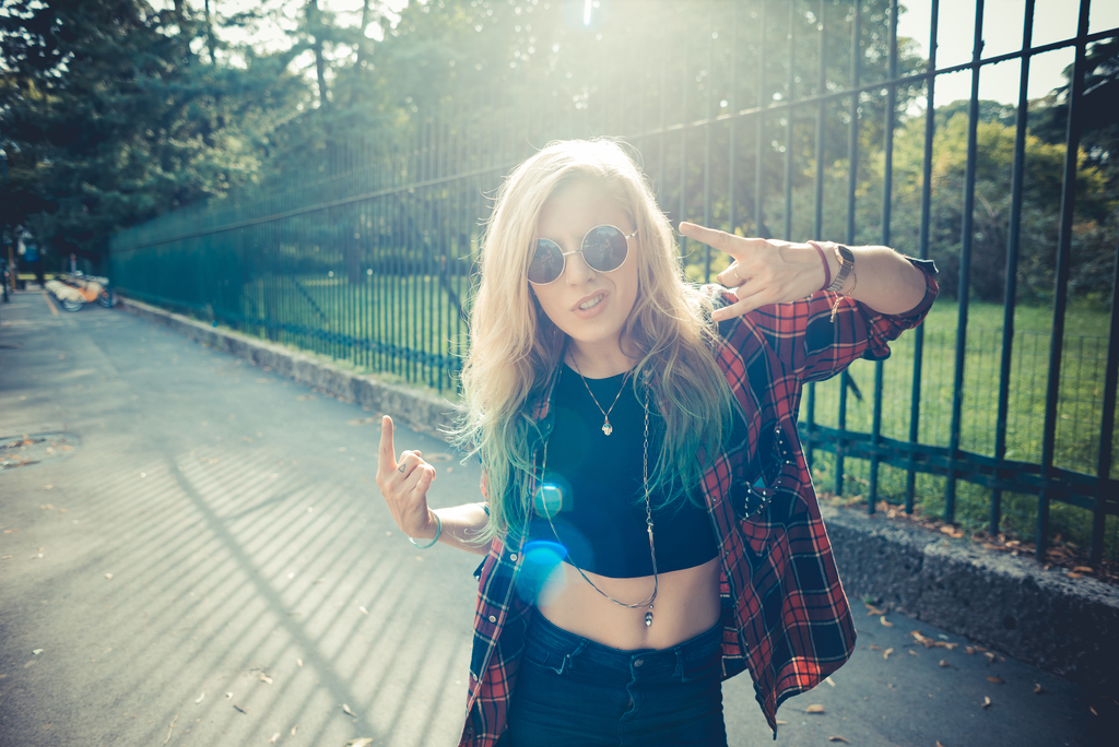 beautiful young Swedish blonde hair woman hipster in the city