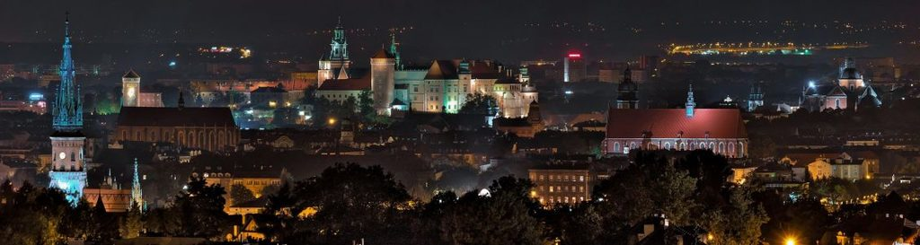 night view of krakow