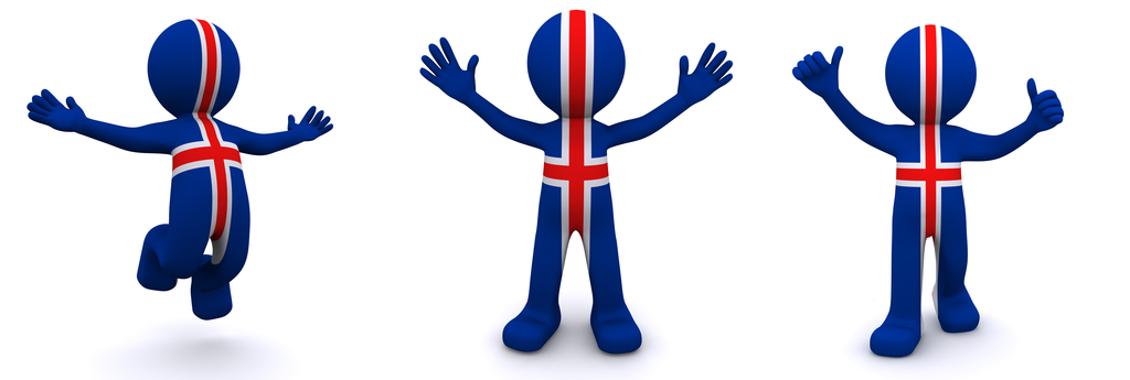 3d character textured with flag of Iceland isolated on white background